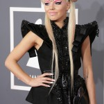 Estonian singer and songwriter Kerli wore bizarre makeup and black devil horns paired with a black dress with structure shoulders at the 2013 Grammy Awards. (Photo: WENN)
