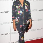 Rashida Jones picked out a navy floral-printed ensemble for the Glamour Women of the Year Awards red carpet. (Photo: WENN)