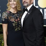 Steve Carell's wife, Nancy, donned a dress with multi-color embellishments across the bodice and shoulders. (Photo: WENN)