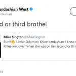 "Kim took to Twitter and wrote, ""Or second or third brothel,"" referring to Odom's multiple infidelities. (Photo: Twitter)"