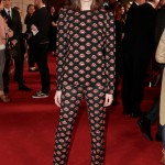 "Stacy Martin attended the Gala screening of ""The Sense of an Ending"" wearing a pajama-inspired set of lips printed top and trousers. (Photo: WENN)"
