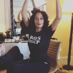"""Tracee Ellis Ross share her excitement to """"stand in solidarity with [her] sisters on the carpet"""" wearing a Time's Up shirt as she was getting ready for the big event. (Photo: Instagram)"""