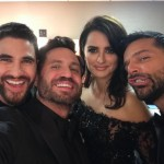 """The cast of """"The Assassination of Gianni Versace"""" got together behind-the-scenes at the Golden Globes for a quick photo before they presented. (Photo: Instagram)"""