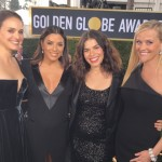 """America Ferrara shared this snap of the """"powerful sisterhood"""" alongside Natalie Portman, Eva Longoria and Reese Witherspoon, and called it the """"best red carpet experience"""" ever. (Photo: Instagram)"""