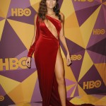 Actress Blanca Blanco chose to stick to an asymmetrical velvety red gown by Atria Clothing with a daring cut-out and leg slit and no Time's Up pin. Blanco has not commented on her decision to skip the all-black dress code. (Photo: WENN)
