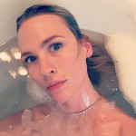 "January Jones took a page out of Ricky Gervai's book, posting a series of photos of herself from ""ugly"" angles in her bathtub. (Photo: Instagram)"