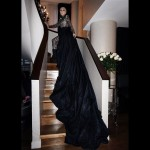 Lady Gaga offered a glamorous shot of her lace Armani Privé gown as she posed on the top of a staircase. (Photo: Instagram)