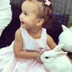 John Legend shared a cute picture of little Luna at a party with bunnies! (Photo: Instagram)