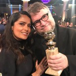 """Salma Hayek praised director Guillermo Del Toro after his win, sharing this photo and writing, """"So proud of Mexican director #guillermodeltoro for his #GoldenGlobe"""". (Photo: Instagram)"""