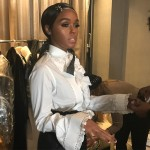 "Makeup Artist Jessica Small shared a BTS picture of ""real life doll"" Janelle Monae getting ready to hi the Grammy's red carpet. (Photo: Instagram)"