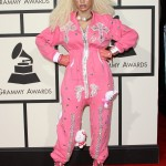 Dencia made an impression at the 2016 Grammys in a wacky bright pink, sequined pajama-like onesie covered in Hello Kitty dolls. (Photo: WENN)