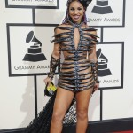 Joy Villa led the list of worst dressed stars at the 2016 Grammy Awards wearing nothing but some carefully-placed plastic strips, which looked like and extended rib cage. (Photo: WENN)