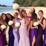 Bad Girl RiRi looked fierce in purple at the Hawaii wedding of her assistant and close friend Jennifer Rosale's in April 2015. (Photo: Instagram)