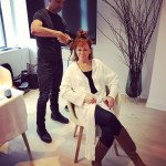 Rebecca McEntire passed the time by taking a photo while getting her hair done ahead of the Grammy Awards. (Photo: Instagram)