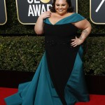 """The Greatest Showman"" actress Keala Settle donned a Christian Siriano gown with a teal train and neckline. (Photo: WENN)"