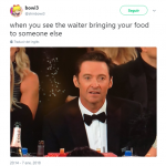 Hugh Jackman's face after losing with James Franco is golden meme material. (Photo: Twitter)