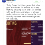 """""""Baby Driver"""" director Edgar Wright celebrated the movie's nomination for Sound Editing and Sound Mixing. (Photo: Twitter)"""