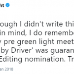 """He said he always knew the movie """"was guaranteed a best Sounding Editing nomination."""" (Photo: Twitter)"""