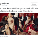 Reese's mysterious third leg sparked the photoshop controversy. (Photo: Twitter)