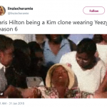 Don't even try to deny it—this is how you felt when you saw Kim K and Paris Hilton twinning in Yeezy season 6. (Photo: Twitter)