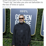 Laurence Fishburne's red carpet look gave off some pseudo-Matrix vibes. (Photo: Twitter)