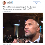 The Rock—who has joked about running for President—watching Oprah's speech like… (Photo: Twitter)