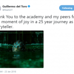 """""""The Shape of Water"""" director Guillermo del Toro celebrated the movie's 13 nominations, including """"Best Director"""" and """"Best Picture."""" (Photo: Twitter)"""