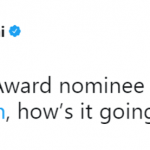 """""""The Big Sick"""" writer Kumail Nanjiani had a sweet reaction to his Best Original Screenplay nomination, recognizing wife Emily V. Gordon for their joint work on the movie about their love story. (Photo: Twitter)"""