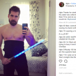Wrong colored lightsaber, dude— but we can look pass that. (Photo: Instagram)