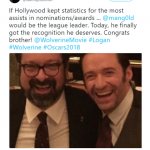 """Hugh Jackman congratulated James Mangold for his Best Adapted Screenplay nomination for """"Logan"""". (Photo: WENN)"""