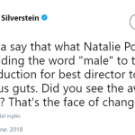"""Natalie Portman putting the T in """"Time's Up."""" (Photo: Twitter)"""