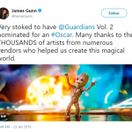 """""""Guardians of the Galaxy Vol. 2"""" director James Gunn also celebrated the work his team did after the Best Visual Effects nomination. (Photo: Twitter)"""