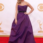 Carrie Underwood popped up at the 2013 Emmys wearing a voluminous iridescent deep plum ball gown bye Romona Keveza. (Photo: WENN)