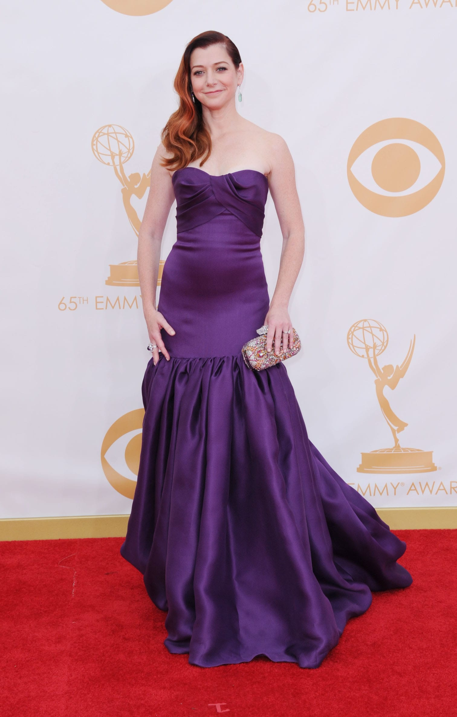 Alyson Hanningan Wore A Purple Strapless Prom Dress By Marchesa To The Primetime Emmy Awards Red