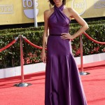 Giuliana Rancic made an early and bright start in a purple Basil Soda gown at the SAG Awards 2014. (Photo: WENN)