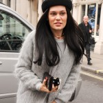 Jessie J out and about in London¸ wearing an all-grey outfit, topped with a cute black beret. (Photo: WENN)