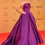 Heidi Klum looked radiant in show-stopping plum ballgown by Zac Posen on the Bambi Awards 2015 red carpet. (Photo: WENN)