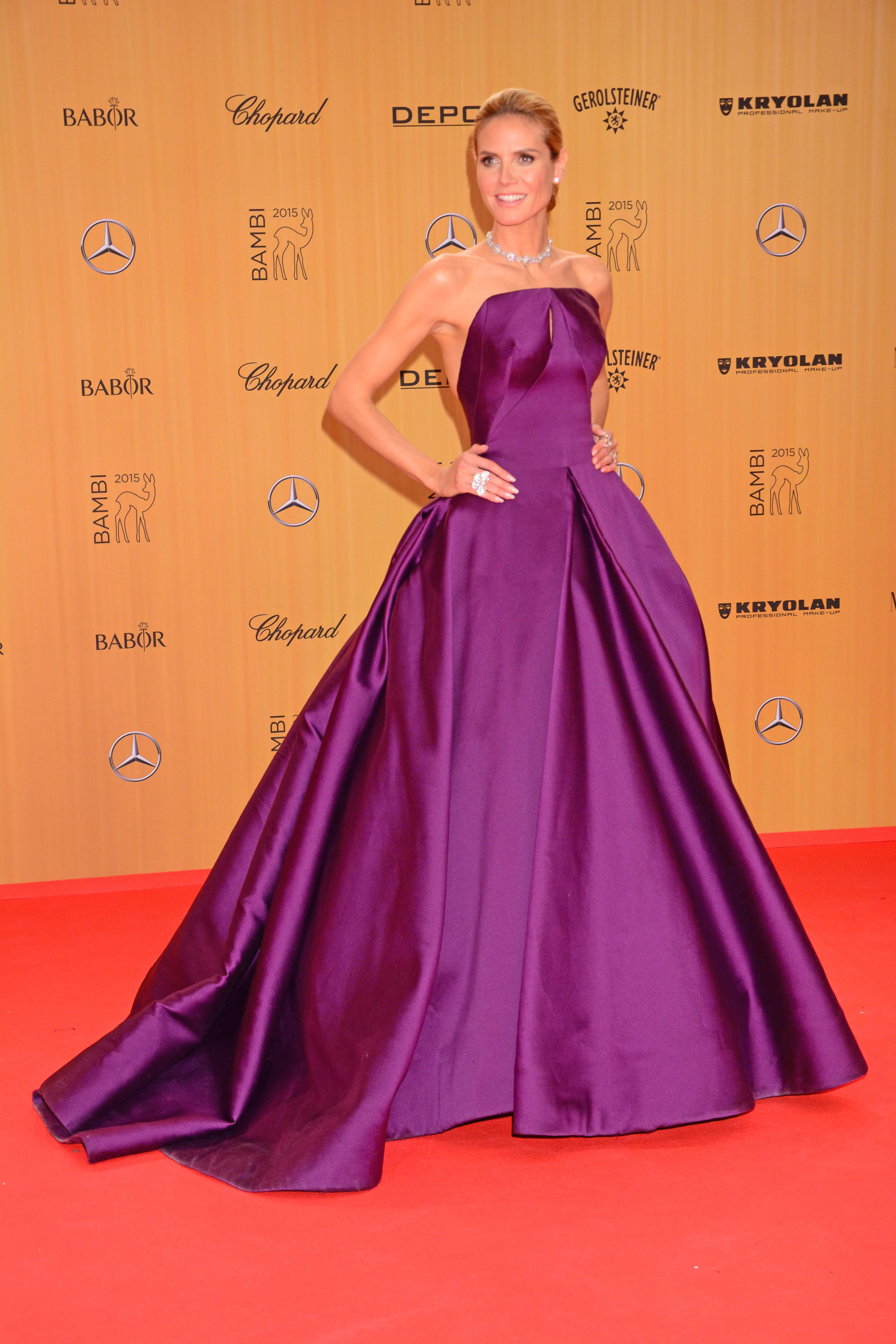 Heidi Klum Looked Radiant In Show Stopping Plum Ballgown By Zac Posen On The Bambi