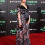 Ginnifer Goodwin had her baby bump on display at the Zootopia premiere in a bright patterned floor-length silk Shoshanna dress. (Photo: WENN)