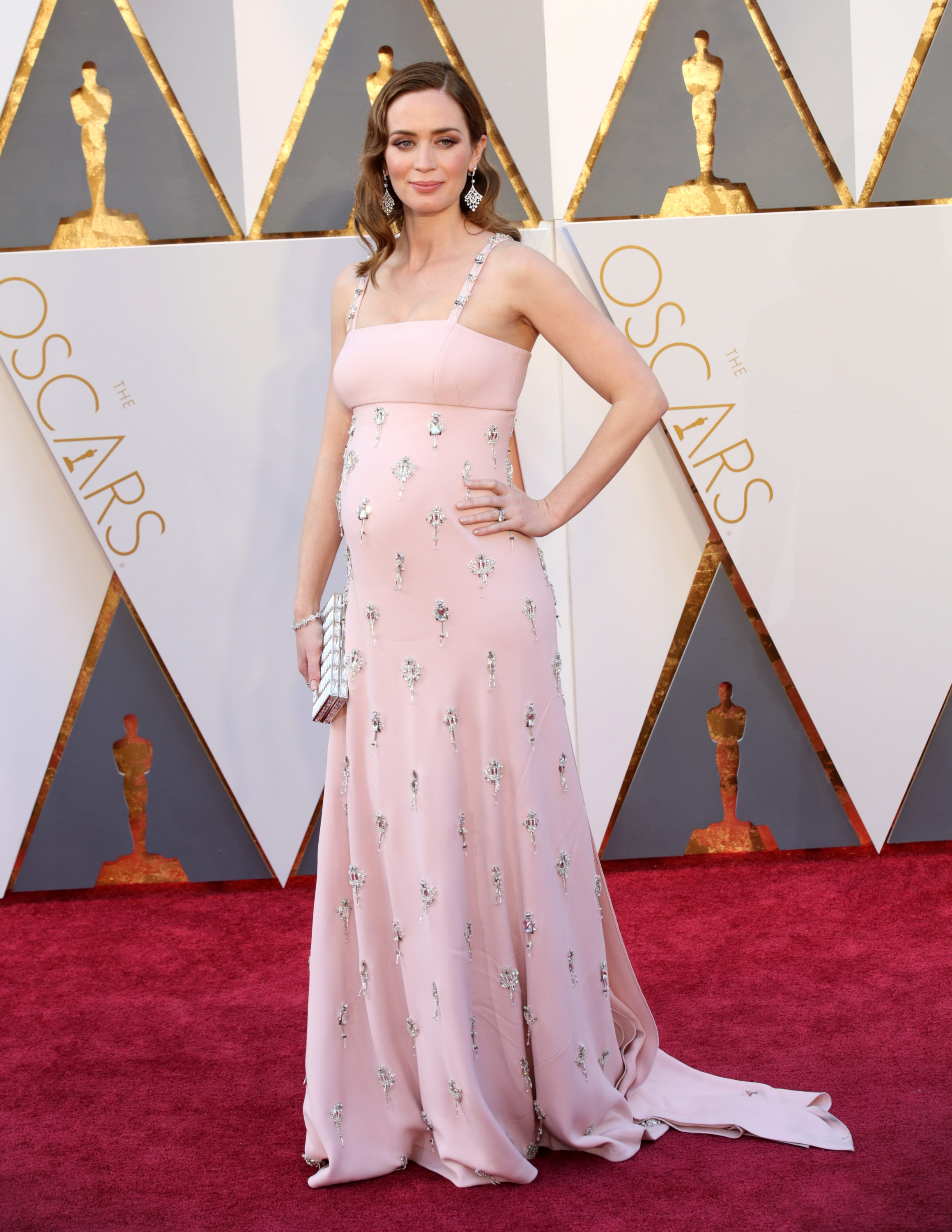 8261250999e Expecting mamma Emily Blunt stepped out in an embellished pastel pink Prada  gown at the 2016