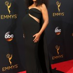 Kerry Washington rocked a cutout, strapless black dress by Brandon Maxwell to the 2016 Emmys, revealing her growing tummy. (Photo: WENN)