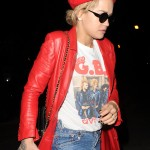 Rita Ora was spotted leaving a recording studio wearing a vibrant red leather jacket and matching red beret. (Photo: WENN)