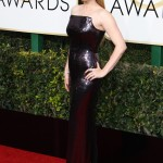 Amy Adamas stepped out in an off-the-shoulder Tom Ford gown covered in all-black sequins for the 2017 Golden Globes ceremony. (Photo: WENN)