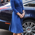 Kate wore a belted cobalt blue coat by British label Eponine during her visit to the Child Bereavement UK Centre in Stratford, London. (Photo: WENN)