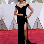 Taraji P. Henson stepped out in a black off-the-shoulder velvet custom gown by Alberta Ferretti for the 2017 Oscars ceremony. (Photo: WENN)