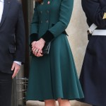 Kate Middleton brought St. Patrick's Day to Paris as she wore a double-breasted emerald green Catherine Walker dress coat during their meeting with Francois Hollande. (Photo: WENN)