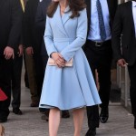 Kate stuck to a trusty and elegant pale blue coat dress by Emilia Wickstead during her visit to the Grand Duke Jean Museum of Modern Art in Luxembourg. (Photo: WENN)