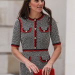 Kate Middleton paired a black and white with red trim Gucci tweed ensemble with with L.K. Bennett pumps for the opening of the Victoria and Albert Museum. (Photo: WENN)