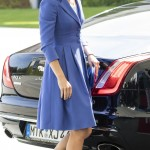 The Duchess of Cambridge was impeccably coordinated, carrying a small blue clutch bat to match her outfit during her arrival to Berlin. (Photo: WENN)
