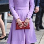 Kate dazzled in a lavender, sophisticated dress from one of her favorite designers, Emilia Wickstead, during her visit to the Maritime Museum in Hamburg. (Photo: WENN)